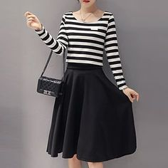 Buy Yohana Set: Long-Sleeve Striped Top + Midi Skirt at YesStyle.com! Quality products at remarkable prices. FREE WORLDWIDE SHIPPING on orders over € 34.