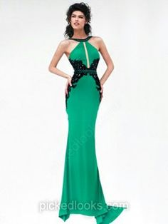 Trumpet/Mermaid Scoop Neck Silk-like Satin Sweep Train Appliques Lace Prom Dresses #PLS02017329