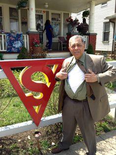 Leon Bib poses outside the home of one of the creators of Superman. #leonbibb #wews #ohio
