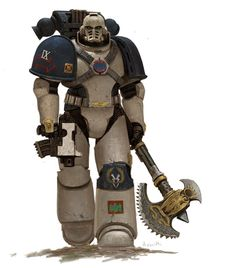 """wh40kartwork:  """" Pre-Heresy World Eaters Marine by Adrian Smith  """""""