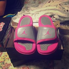 Pink jordan slippers Size. 7Y 8 womans tv higher Jordan Shoes Flats & Loafers