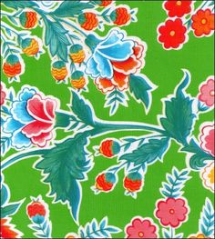 Oilcloth By The Yard - Fantasia Lime Oilcloth