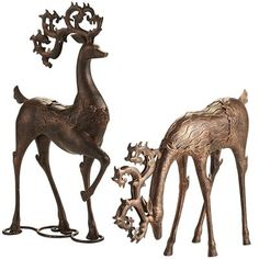 Pier 1 imports Standing and Grazing Reindeer
