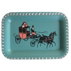 Pre-Owned Horse & Carriage Tole Tray ($45) ❤ liked on Polyvore featuring home, home decor, small item storage, decorative accessories, tole tray, pink home decor, black and white home decor, turquoise home decor and horse home decor