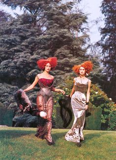 "john-galliano-blog: "" Carolyn Murphy & Trish Goff by Steven Meisel, Vogue US, circa 1997 John Galliano for Christian Dior Fall Winter 1997 Haute Couture """