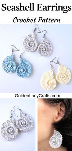 Crochet seashell earrings, DIY, handmade jewelry, embellished with beads, summer earrings design jewelry Crochet Seashell Earrings Crochet Necklace Pattern, Crochet Jewelry Patterns, Crochet Accessories, Crochet Jewellery, Knitted Jewelry, Bracelet Patterns, Crochet Crafts, Crochet Projects, Crochet Geek