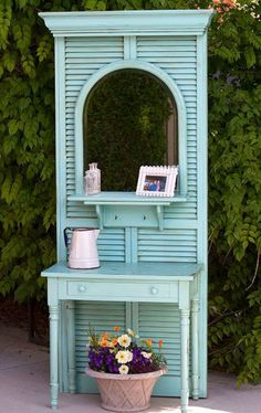 SHUTTERS -- a pile of random objects to a hall tree, painted furniture, repurposing upcycling, Hall Tree Made From Thrift Store Finds Redo Furniture, Repurposed Furniture, Home Furniture, Painted Furniture, Hall Tree, Home Diy, Furniture Makeover, Doors Repurposed, Shutters