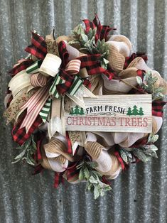 Farm Fresh Christmas Trees Rustic Burlap Mesh Wreath Adorned With Happy New Year Types Of Christmas Trees, Christmas Door Wreaths, Ribbon On Christmas Tree, Christmas Tree Farm, Country Christmas, Holiday Wreaths, Christmas Tree Decorations, White Christmas, Christmas Crafts
