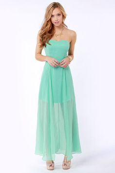 Hit List Strapless Mint Green Maxi Dress at LuLus.com!... DIANA
