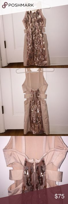 ✨Bebe Rose Gold Short Evening Dress Worn once. Just got dry-cleaned. Beautiful beading. Perfect for New Years bebe Dresses