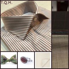 SHIRT/TIE COMBO: Unknown(Shirt)-King Kravate(Bowtie)-Jinjie(Cufflinks)-Unknown(Pocket Square)-Suggested Suit Colors(Gray w/Burgundy Windowpanes & Tan)-Suit Colors On Right Side.