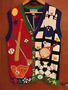 ☀Jack B Quick S Soccer Mom Golf Knit☀Sweater Vest Embellished Teacher School  | eBay