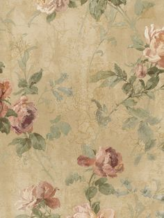 Tan Crackle Rose Trail Wallpaper - Traditional Wallpaper from Interiorplace dot com Vintage Flower Backgrounds, Vintage Floral Wallpapers, Vintage Flowers Wallpaper, Victorian Wallpaper, Vintage Wallpaper Patterns, Wallpaper Designs, Decoupage Vintage, Decoupage Paper, Vintage Paper