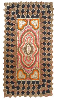 "PENNY & HOOKED RUG. A very nice 19th century American combination hooked and penny rug in nice vibrant colors. Center hooked design of corner hearts and oval design in the middle in vibrant purples, reds, greens, yellow and oranges. All hand stitched with a backing of burlap and quilt fabric edging. Measures 46"" x 24"". 295.00"
