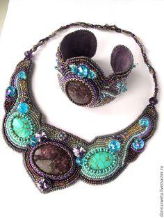 Купить Комплект с бирюзой Восточная красавица - фиолетовый, сиреневый, бирюзовый, украшение на шею, украшения