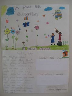 Poster-postcard made by students at Webster Hill School, West Hartford, CT West Hartford, Butterflies, Students, Teaching, School, Books, Poster, Libros, Book