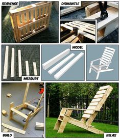 Chair One-Pallet Chair! This Adirondack chair was built from just one pallet!One-Pallet Chair! This Adirondack chair was built from just one pallet! Pallet Crafts, Pallet Ideas, Pallet Projects, Home Projects, Diy Pallet, Outdoor Pallet, Pallet Patio, Diy Crafts, Pallet Benches