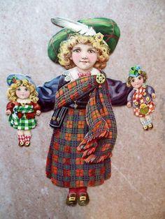 """Antique 11"""" TUCK Mechanical Bonnie Scotland Tartan Plaid Paper Twin Doll Die Cut (12/23/2012)"""