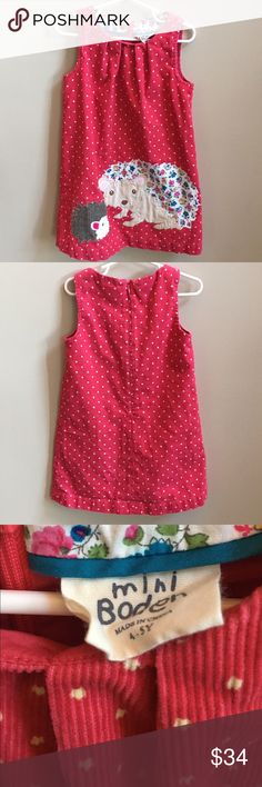 Mini Boden Dress 4-5 years Mini Boden dress for the five years. Excellent used condition! This is a beautiful dress with a beautiful appliquéd. Corduroy material with polkadots. Appliqué animals. From a non-smoking and pet free home. Bundle to save on shipping! Mini Boden Dresses