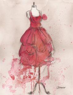 """Coral Pink Party Dress""  ~~  Artist ~Lauren Maurer~"