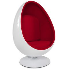 fauteuil oeuf cocoon blanc et rouge chaise designikeadining - Fauteuil Design Ikea