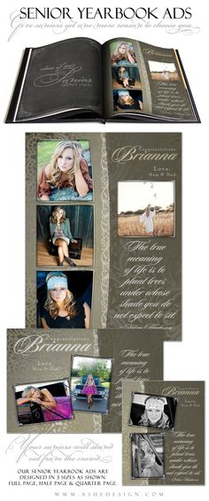 SENIOR Yearbook Ad Sets for Photographers ANTIQUE by ashedesign, $14.99