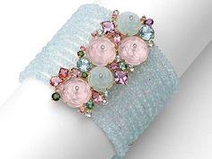 BRUMANI - So pretty! This bracelet is full of pink & blue quartz, aquamarine, pink & green tourmaline, amethyst, green beryl & diamonds. Stylish Jewelry, Diy Jewelry, Beaded Jewelry, Jewelry Bracelets, Jewelery, Jewelry Accessories, Vintage Jewelry, Jewelry Design, Jewelry Making