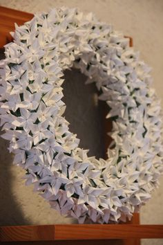 Everlasting white flowers wreath  origami flower by decoramipaper, €30.00