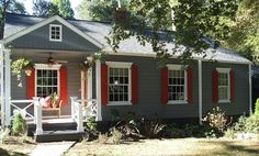 Mobile home dark gray exterior color with white trims ...