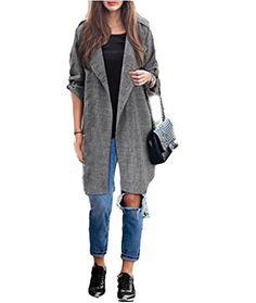 a73277fc4e 2017 Spring Women Slim Thin Outerwear Casual Lapel Windbreaker Cape Coat  European Style Linen Cardigan Jacket US Plus Size Store-Gray-S-Enso Store