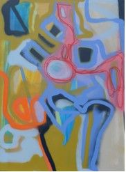 """Price: $1,800  MARY CHANG  Rhapsody in Movement 2 2012  Acrylic, Oil Stick and Oil Base Spray Paint on Canvas, 30"""" x 40""""   Estimated Value: 3,000   Contact: charlotte@rushartsgallery.org"""