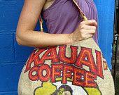 Burlap Hobo Handbag. Repurposed Kauai USA Coffee Bag with Hula Girl and Bamboo.