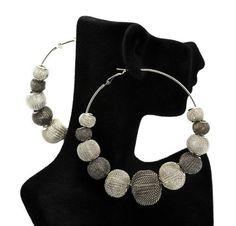 Basketball Wives POParazzi Inspired Mesh Ball Earrings Silver/hematite 80mm