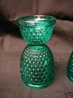 I'd seen hobnail in milk glass or clear frequently but this beautiful teal green was an exciting find.