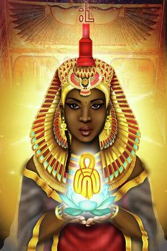 Isis ( Aset in Egyptian ) was originally a Goddess from Nubia and was adopted into Egyptian belief. Her name literally means female of throne, Queen of the throne. Wife and sister to Asar ( Osiris) and mother of Horus. By Emhotep Richards