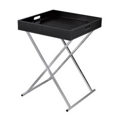 Modern Design With Flexibility. Chrome Legs Fold For Storage And Black Faux Croc Tray Top Becomes A Multi Purpose Serving Tray.  https://joyfulhomegoods.com/collections/tables/products/sterling-industries-sete-tray-table-black-6043645 Free gift for our Pinterest fans! $5 gift card, use code PIN5 to redeem!