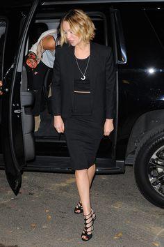 Pencil skirt, crop top, blazer, strappy heels.