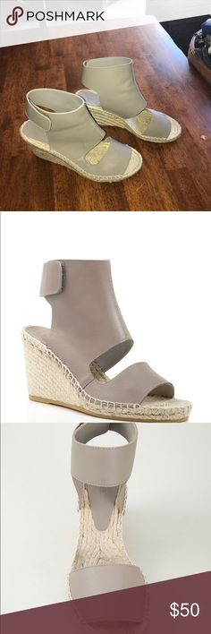 """Vince Wedge Espadrille Sandels Open toe, slip on; Velcro ankle strap. 3.25 heel, .075"""" platform, feels like 2.5 heel. Calf leather upper and jute lining, rubber sole.  Worn only once for a few hours.  Just like new!! Vince Shoes Espadrilles"""