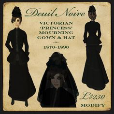 """Montagne Noire - Deuil Noire 1870-1889 Victorian mourning dress, hat & veil - """"Princess"""""""