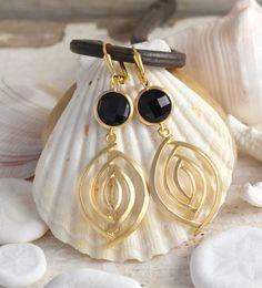 Bridesmaid Earrings. Black and Gold Dangle Earrings. Statement Earrings by RusticGem. Black and Gold Wedding.