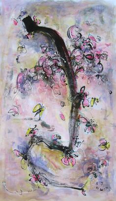 Painting abstract blossom art ORIGINAL cherry blossoms peach ume blossoms art blooming flower modern