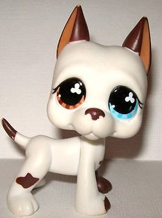 Littlest Pet Shop LPS Great Dane #577 Dog Puppy Mulit-Colored Eyes