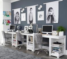 Discover our kids study room ideas for creating the perfect study space + nook for your kids. Shop kids desks and more at Pottery Barn Kids. Kids Office, Home Office Space, Home Office Design, Home Office Decor, Home Design, Home Decor, Family Office, Interior Design, Office Ideas For Home