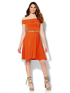 bc3fa768c9c4e Off-The-Shoulder Fit   Flare Dress - New York   Company. Plus Size ...