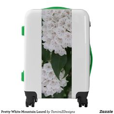 Pretty White Mountain Laurel Carry On Luggage.  Travel in style with this one-of-kind suitcase.  Includes TSA approved lock.  Choose carry-on, or medium or large size suitcase.  Original Photography by TamiraZDesigns.