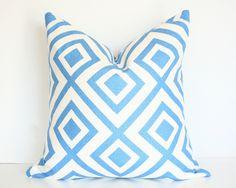 David Hicks La Fiorentina - 17x17 Designer Pillow Cover - Blue & Ivory colorway. $78.00, via Etsy.