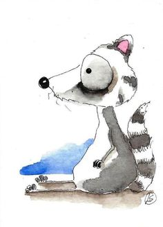 ACEO Original watercolor painting Lucia Stewart whimsical animal baby raccoon…