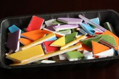 painted styrofoam meat tray cut into irregular shapes for a mosaic kids craft