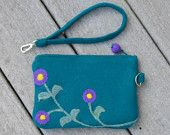 Time for a vacation  Clutch Purse Felted Wool Teal