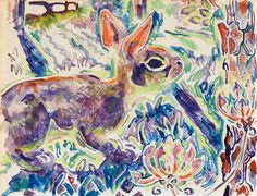 Walter Anderson (American, 1903-1965). Rabbit with Wild Azalea, 1960.